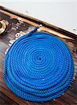 Ship rope texture wave closeup background helix on wood. Swirl blue spiral marine tool. Industry object design. Travel pattern. Stock Photo - Royalty-Free, Artist: svetap                        , Code: 400-06139572