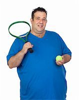 fat man balls - Fat man with a racket for play tennis isolated on white background Stock Photo - Royalty-Freenull, Code: 400-06140382