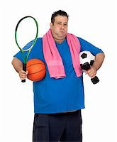 fat man balls - Fat man busy with many sports isolated on white background Stock Photo - Royalty-Freenull, Code: 400-06140383