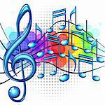 Blue glossy music notes on a rainbow background, vector illustration Stock Photo - Royalty-Free, Artist: ElaKwasniewski                , Code: 400-06140770