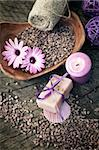 Spa and wellness setting with natural soap, candles and towel. Violet dayspa nature set dayspa nature set Stock Photo - Royalty-Free, Artist: mythja                        , Code: 400-06140975