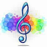 Blue glossy violin music key on a rainbow background, vector illustration Stock Photo - Royalty-Free, Artist: ElaKwasniewski                , Code: 400-06141075