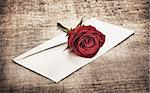 red rose on old canvas and blank envelope, template Stock Photo - Royalty-Free, Artist: AberratioN                    , Code: 400-06141301