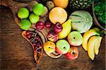 Organic Fruit variety on wood. Tropical exotic food concept. Pinneaple, pears,plums,kiwi,melon,grapefruit,aplles and bananas. Stock Photo - Royalty-Free, Artist: mythja                        , Code: 400-06141781