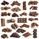 Chocolate collection on a white background Stock Photo - Royalty-Free, Artist: popovaphoto                   , Code: 400-06141804
