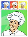 Vector illustration of cook smiling cook on colored backgrounds Stock Photo - Royalty-Free, Artist: AnnaRassadnikova              , Code: 400-06143143