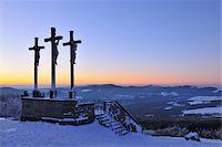 religious cross nobody - Crosses on the Top of Kreuzberg at Dusk, Rhoen Mountains, Bavaria, Germany Stock Photo - Premium Rights-Managednull, Code: 700-06144820