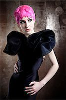 Portrait of Woman Wearing Black Dress and Pink Wig Stock Photo - Premium Rights-Managednull, Code: 700-06145094