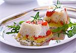 Rice timbales with fried peppers, rosemary and rocket Stock Photo - Premium Royalty-Freenull, Code: 659-06151333