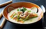 Coconut soup with salmon and prawns (Thailand) Stock Photo - Premium Royalty-Freenull, Code: 659-06151534