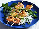 Grilled prawn kebabs with peppermint and rice Stock Photo - Premium Royalty-Freenull, Code: 659-06151633
