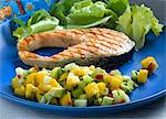 Grilled salmon steak with a mango and avocado salsa Stock Photo - Premium Royalty-Free, Artist: Edward Pond, Code: 659-06152201