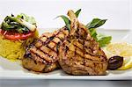 Grilled pork chops with rice and vegetables Stock Photo - Premium Royalty-Freenull, Code: 659-06152938