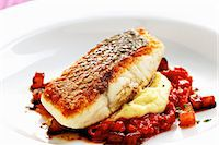 Bass with fennel and tomato confit Stock Photo - Premium Royalty-Freenull, Code: 659-06152991