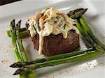 Beef Fillet Topped with Crawfish Hollandaise Sauce; With Asparagus Stock Photo - Premium Royalty-Free, Artist: Blend Images, Code: 659-06153259