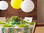 A green and white table with paper lampshades Stock Photo - Premium Royalty-Free, Artist: Boden/Ledingham, Code: 659-06153527