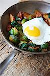 Pan Roasted Potatoes with Brussels Sprouts and Fried Egg Stock Photo - Premium Royalty-Freenull, Code: 659-06153929