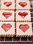 Jam biscuits with icing sugar on a wire rack Stock Photo - Premium Royalty-Free, Artist: AWL Images, Code: 659-06154165