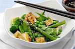 Grilled tofu with sesame and a green vegetable salad (Asia) Stock Photo - Premium Royalty-Free, Artist: Blend Images, Code: 659-06154387