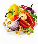 Vegetable still live with pepper, onions, chickpeas and pine nuts Stock Photo - Premium Royalty-Free, Artist: Science Faction, Code: 659-06154537