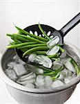 Quenched beans being removed from a bowl of iced water Stock Photo - Premium Royalty-Free, Artist: CulturaRM, Code: 659-06155776
