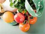Canvas Shopping Bag with Tomatoes, Fruit and a Bottle of Milk Stock Photo - Premium Royalty-Free, Artist: Cultura RM, Code: 659-06155806