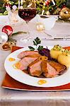 Duck breast with red cabbage and potato dumplings for Christmas dinner Stock Photo - Premium Royalty-Free, Artist: Blend Images, Code: 659-06155926