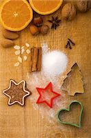 Christmas biscuits, baking ingredients and cutters, seen from above Stock Photo - Premium Royalty-Freenull, Code: 659-06155980