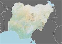 Relief map of Nigeria (with border and mask). This image was compiled from data acquired by landsat 5 & 7 satellites combined with elevation data. Stock Photo - Premium Rights-Managednull, Code: 872-06160342