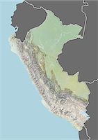 Relief map of Peru (with border and mask). This image was compiled from data acquired by landsat 5 & 7 satellites combined with elevation data. Stock Photo - Premium Rights-Managednull, Code: 872-06160350