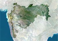 Satellite view of the State of Maharashtra, India. This image was compiled from data acquired by LANDSAT 5 & 7 satellites. Stock Photo - Premium Rights-Managednull, Code: 872-06160741