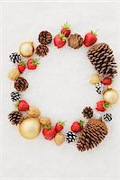 Fruits, Dry Fruits And Baubles With White Background Stock Photo - Premium Royalty-Freenull, Code: 622-06163992