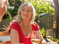 Older couple drinking wine together Stock Photo - Premium Royalty-Freenull, Code: 649-06164536