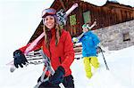 Skiers carrying skis and poles in snow Stock Photo - Premium Royalty-Free, Artist: Janet Foster, Code: 649-06164805