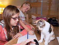 preteen girl pussy - Children with cat during homework Stock Photo - Premium Royalty-Freenull, Code: 649-06164834