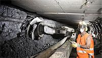 Coal miner working in mine Stock Photo - Premium Royalty-Freenull, Code: 649-06164912