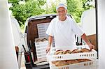 Chef carrying trays of bread to van Stock Photo - Premium Royalty-Free, Artist: Robert Harding Images, Code: 649-06165051