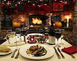 Table laid for Christmas dinner Stock Photo - Premium Royalty-Free, Artist: iRepublic, Code: 649-06165081