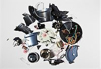 Pile of smashed clock parts Stock Photo - Premium Royalty-Freenull, Code: 649-06165316