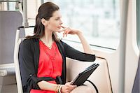 Woman traveling in a bus and thinking Stock Photo - Premium Royalty-Freenull, Code: 6108-06166140