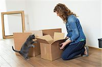 Woman looking at her cat standing on hind legs Stock Photo - Premium Royalty-Freenull, Code: 6108-06166492