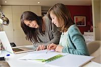 Girl studying with her mother at home Stock Photo - Premium Royalty-Freenull, Code: 6108-06166631