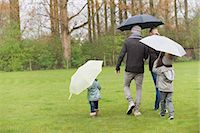 people with umbrellas in the rain - Family walking with umbrellas in a park Stock Photo - Premium Royalty-Freenull, Code: 6108-06167345