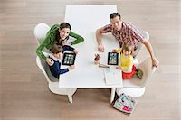 High angle view of couple teaching their children Stock Photo - Premium Royalty-Freenull, Code: 6108-06167572