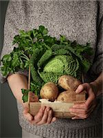 Woman holding wooden crate of vegetables Stock Photo - Premium Royalty-Freenull, Code: 614-06169319