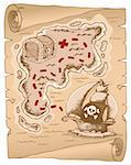 Parchment with treasure map 1 - vector illustration. Stock Photo - Royalty-Free, Artist: clairev                       , Code: 400-06170536