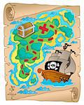 Parchment with treasure map 2 - vector illustration. Stock Photo - Royalty-Free, Artist: clairev                       , Code: 400-06170537