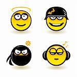 Cartoon faces. Set of four. Illustration of designer on white background Stock Photo - Royalty-Free, Artist: dvarg                         , Code: 400-06170629