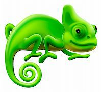 An illustration of a cute green cartoon chameleon lizard Stock Photo - Royalty-Freenull, Code: 400-06170757