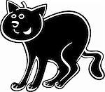 cartoon illustration of funny black cat or kitten Stock Photo - Royalty-Free, Artist: izakowski                     , Code: 400-06170785